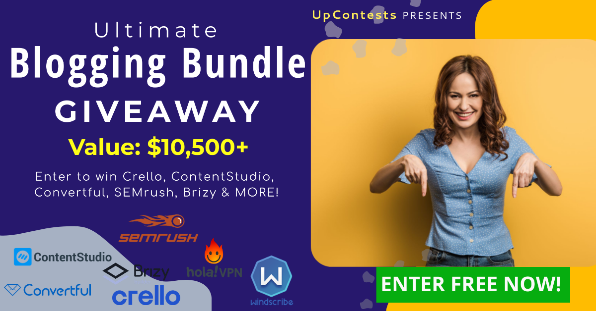 Enter to win Crello, SEMrush, Convertful, Windscribe Pro VPN (and More!)